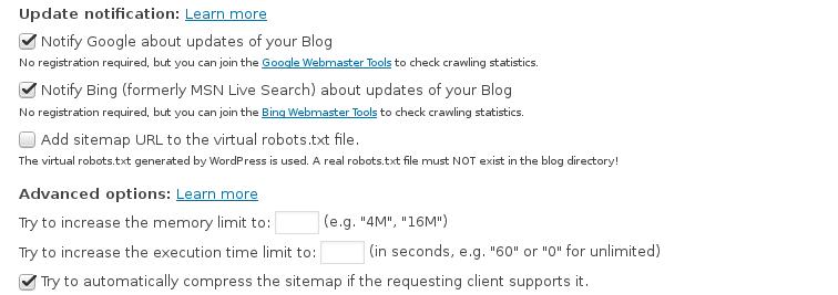 Nastavitve Google XML Sitemaps