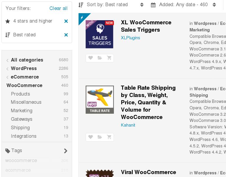 Trgovina za plačljive vstavke za WooCommerce