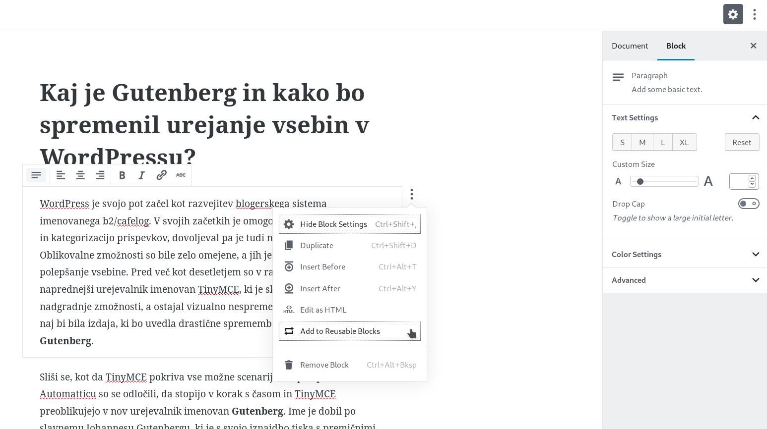 Urejevalnik Gutenberg
