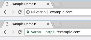 Varnostno opozorilo HTTPS v brskalniku Chrome