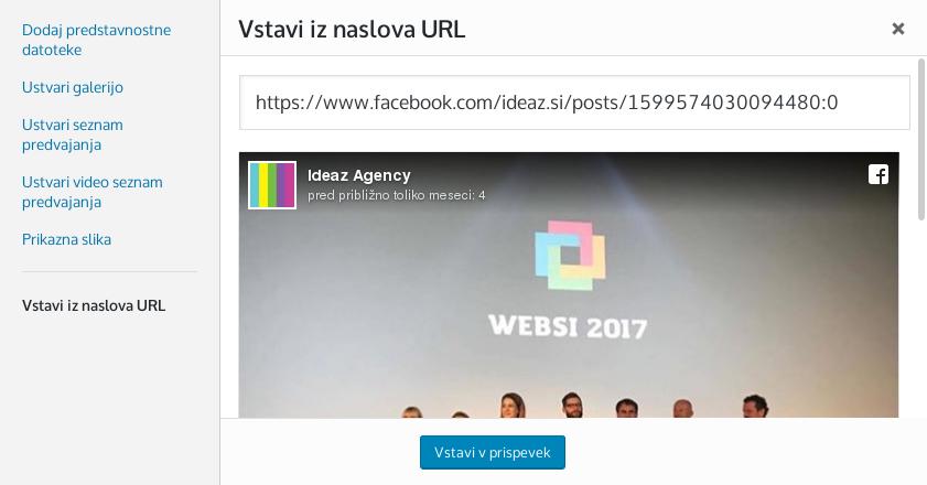 Vstavitev interaktivne vsebine v WordPress