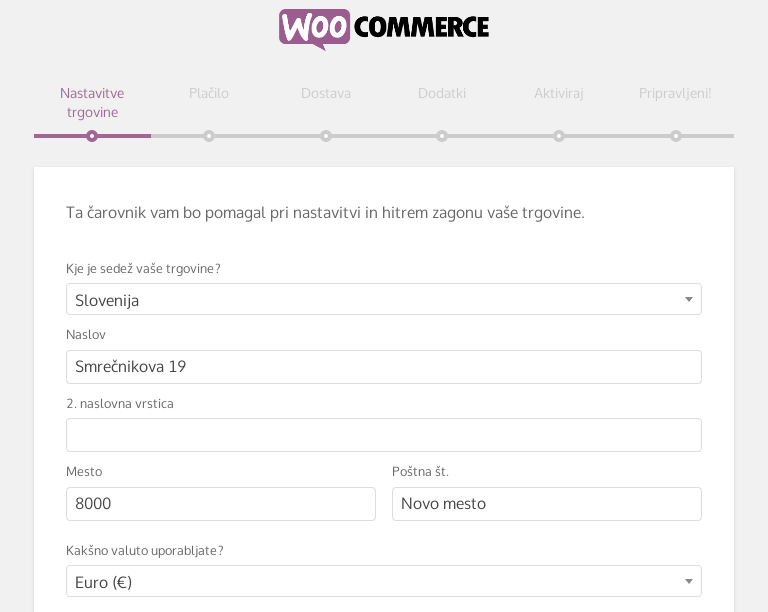 Čarovnik za namestitev WooCommerca